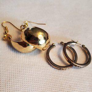 2 Pair Gold Tone Hoop Earrings Stud and Hook Style